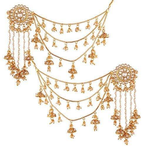 Aheli indio tradicional joyas inspirado en Bollywood Bahubali Kundan pendientes cadena de pelo jhumki para mujeres