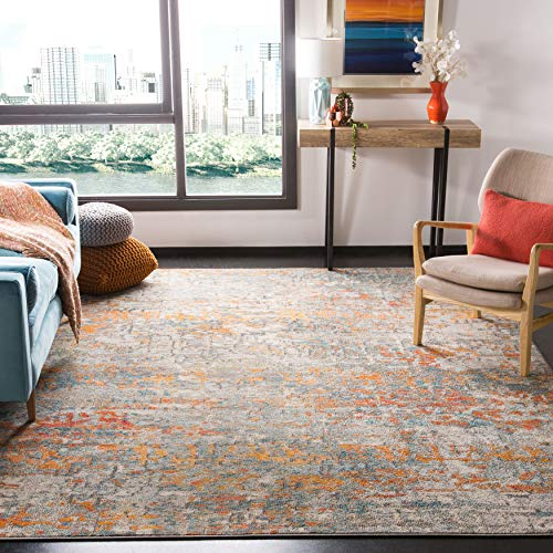 Safavieh Madison Collection MAD460F Modern Abstract Non-Shedding Stain Resistant Living Room Bedroom Area Rug, 8' x 10', Grey / Orange