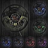 ZFANGY Culturismo Kettlebell Gimnasio Signo Reloj de Pared Levantamiento de Pesas Entrenamiento Disco de Vinilo Reloj de Pared Ejercicio Reloj de Pared Inspirador Regalo con LED