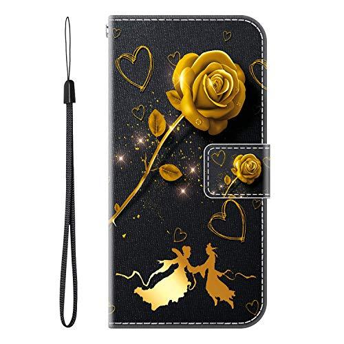 vingarshern Hülle für TP-Link Neffos C5 Plus Handytasche Klappbares Magnetverschluss Lederhülle Flip Etui Standfunktion Hülle Neffos C5 Plus Schutzhülle Leder Brieftasche(Goldene Rose) MEHRWEG