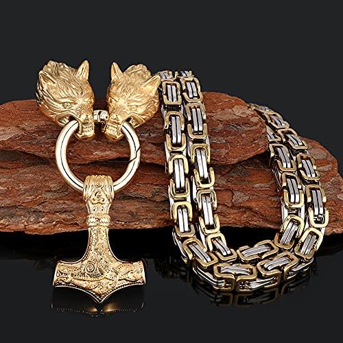 Serired Collar con Colgante Martillo Vikingo Thor, Collar Cadena Nordic Odin Celtic Wolf King, Joyería Regalo Amuleto Pesado Acero Inoxidable Vintage para Hombre,Oro,70cm