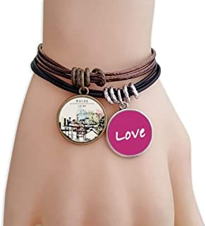Skyscraper Slums in Macao China Love Bracelet Leather Rope Wristband Couple Set