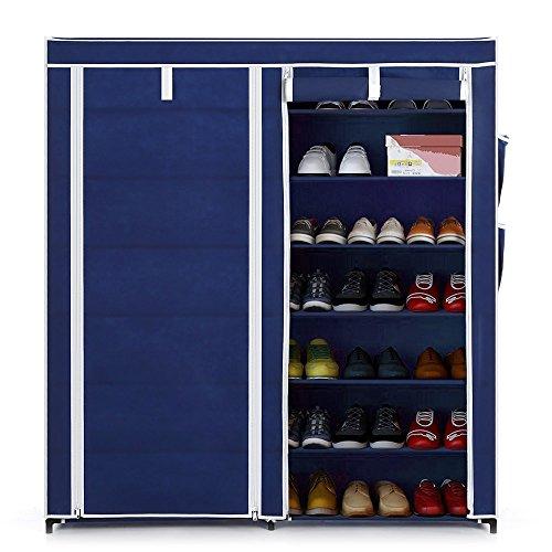 IKAYAA Classic Portable 7 Livello Tessuto Scarpiera Cabinet Zip Up In piedi le Scarpe dell'organizzatore di Immagazzinaggio
