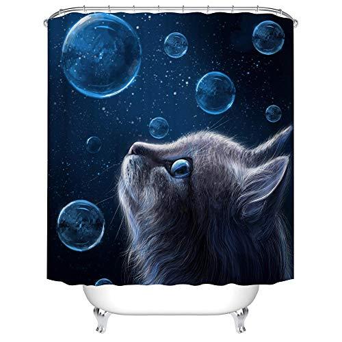 Cortina Ducha 180X180 Burbuja De Gato Azul Oscuro Cortina Ducha Impermeable,Cortina De Ducha Resistente Al Moho Poliéster, Cortina Baño con 12 Ganchos,Antimoho Antibacteriano