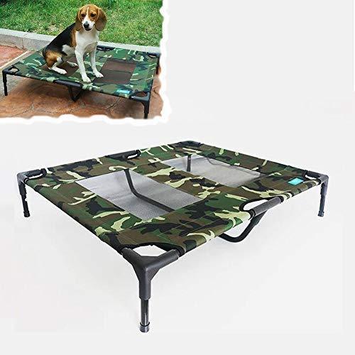 YLCJ Draagbaar verhoogd bed, hondenbed met stalen frame Ademend Oxford doek Waterdichte camping mand Kattenbed voor buiten strand, gras, Picnic-Mesh-S 60x45,5x16cm