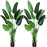 Fopamtri Artificial Bird of Paradise Plant 6 Feet Fake Palm Tree with 13 Trunks Faux Tree for Indoor Outdoor Modern Decoration Feaux Plants in Pot for Home Office Perfect Housewarming Gift,2 Pack