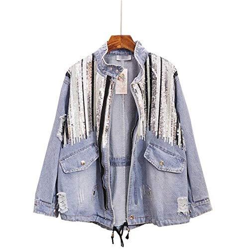 NCKLY Jacke mit Damenprint Pailletten Jeansjacke Lose All Match Jeans Jacke Frauen Handgemachte Pailletten Quaste Jeans Mantel