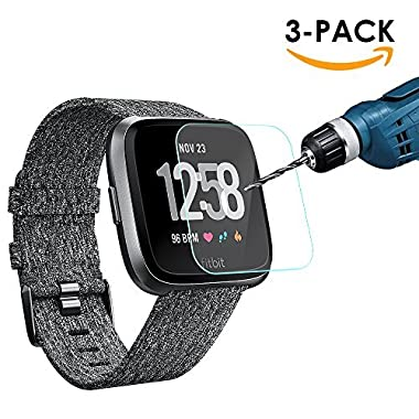 KIMILAR [3-Pack] Screen Protector Compatible Fitbit Versa Smartwatch, Waterproof Tempered Glass Screen Protector [9H Hardness] [Crystal Clear] [Scratch Resist] [No-Bubble]