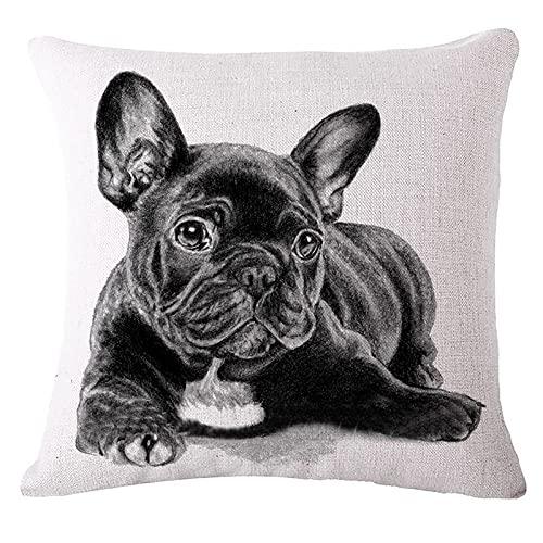 Oukeep Funda De Almohada Decorativa De Tela De Lino De Algodón, Funda De Almohada para Sofá De Dormitorio En Casa con Patrón De Serie De Perro Negro, Cojín De Oficina