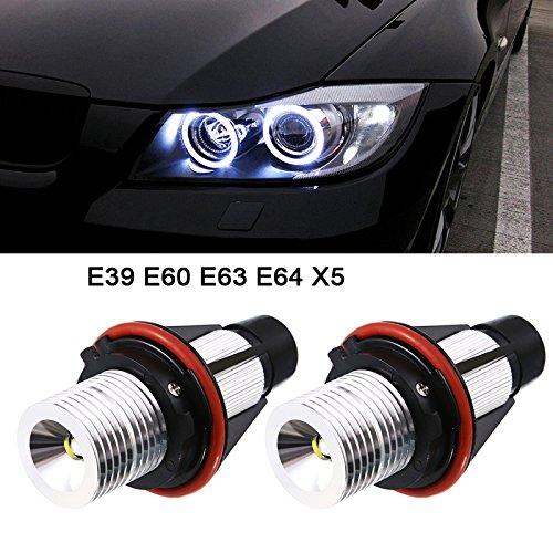 2pcs 1000LM Angel Eyes Luz de Coche LED Bombillas Halo Anillo Marcador 5W 6000K Blanco para BMW X5 E39 E53 E60 E63 E64