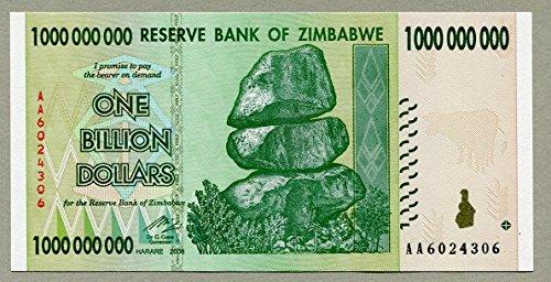 Zimbabwe 1 billion bill money billet dollar inflation record currency note