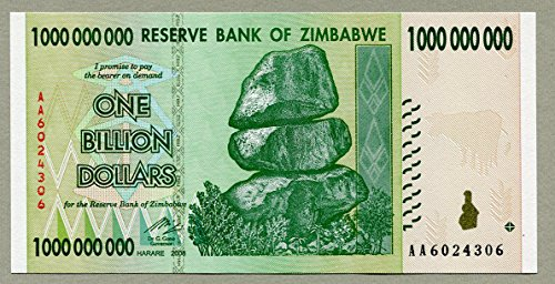 Simbabwe 1 Billion Dollar Banknote Bill Money Inflation Record Currency Note