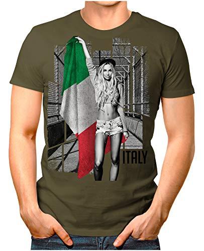 OM3® - Italy-Soccer-Girl - Herren T-Shirt EM 2020 Fußball Trikot Sexy Frau Italien Italia Vintage Oliv L
