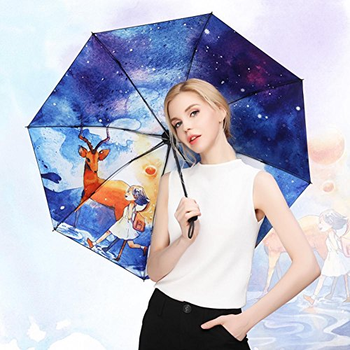 JAYLONG Travel Umbrella 8 Ribs Art Illustration Construcción Robusta portátil de Acero Inoxidable Secado rápido Paraguas Impermeable Plegable para Mujeres, Hombres, niños y niños, B