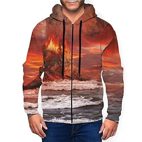 Herren Hoodie Full-Zip Hoodies Classic Graphic Hooded Sweatshirts Active Top Bluse, Vulcanic Mountain Eruption Ocean Black, L