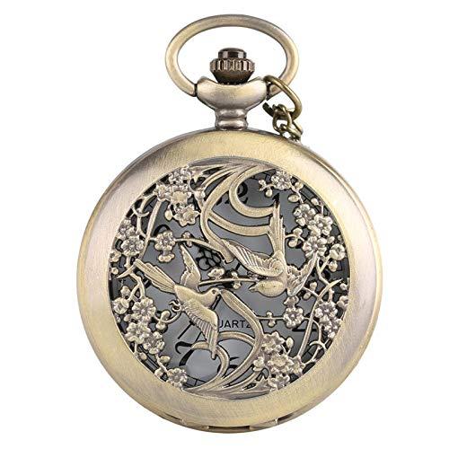 Reloj de Bolsillo con Caja Hueca de urraca de Bronce, Collar con Colgante de Moda, Cadena de Cuarzo analógico, Collar de Medio Cazador, Accesorio de Reloj, Regalos