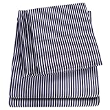 Sweet Home Collection 6 Piece Bed Sheets 1500 Thread Count Fine Microfiber Deep Pocket Set-Extra Pillow Cases, Value, Queen, Classic Stripe Navy