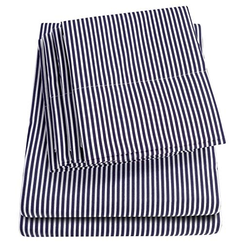 Sweet Home Collection Full Size Bed Sheets-6 Piece 1500 Thread Count Fine Brushed Microfiber Deep Pocket Set-2 EXTRA PILLOW CASES, VALUE, Classic Stripe Navy Classic Floral Sheet Set