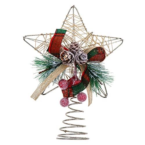 PRETYZOOM Adorno Navideño Estrella Árbol de Hierro Alambre Hueco Estrella Árbol Decoración Superior Adorno Festivo con Cono de Pino Baya Roja para Navidad Vacaciones Adorno Colgante