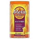 Metamucil, Psyllium Husk Powder Fiber Supplement, Plant Based, 4-in-1 Fiber for Digestive Health With Real Sugar, Orange Flavored, 114 Tablespoons