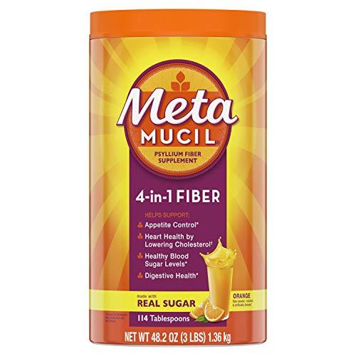 Metamucil, Psyllium Husk Powder Fiber Supplement, Plant Based, 4-in-1 Fiber for Digestive Health With Real Sugar, Orange Flavored, 180 teaspoons (36.8 OZ Fiber Powder)
