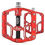 CXWXC 自転車ペダル 9/16インチ シールドベアリング×3個 滑り止め フラットペダル アルミ合金 両面踏み 薄型 軽量 ロードバイク クロスバイク MTB ペダル ピン付き左右セット(レッド/ブラック)