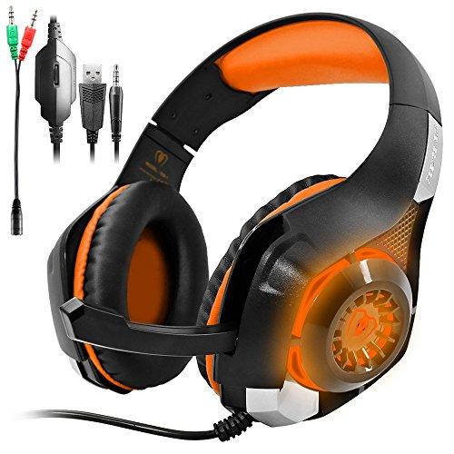 GM-1 Gaming Headset für PS4 Xbox One PC Tablet Smartphone,Stereo LED Backlit Kopfhörer mit Mikrofon von AFUNTA-Apfelsine