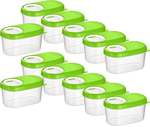Kigima Gewürzdosen Schüttdosen Streudosen Vorratsdosen 0,14l 12er Set grün