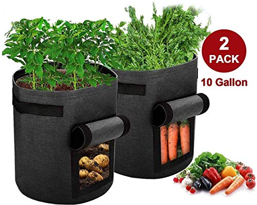 FIF Potato Grow Bags, 2 Pack 10 Gallon Plant Growing Bags Window Flap, Handles for Potato Tomato Carrot Onion Flower Fruit