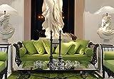 Casa Padrino sofá Barroco de Lujo Verde/Negro 212 x 87 x A. 77 cm - Sofá de Hierro Forjado Forjado a Mano con Cojines...