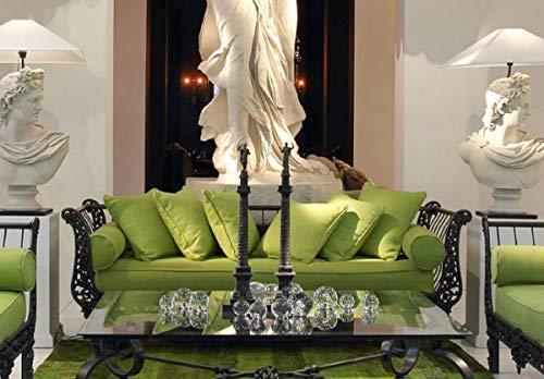 Casa Padrino sofá Barroco de Lujo Verde/Negro 212 x 87 x A. 77 cm - Sofá de Hierro Forjado Forjado a Mano con Cojines - Sofá de Salón - Sofá de Jardín - Sofá de Patio - Muebles Barrocos