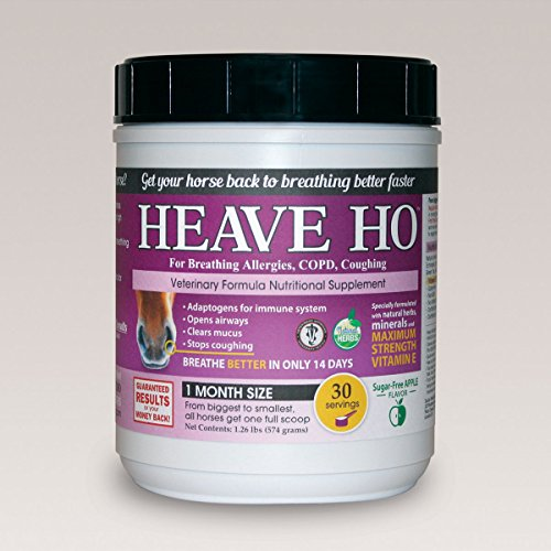 Heave Ho Horse Nutritional Supplement for Breathing Allergies, COPD, Coughing 30 Servings Sugar-Free Apple