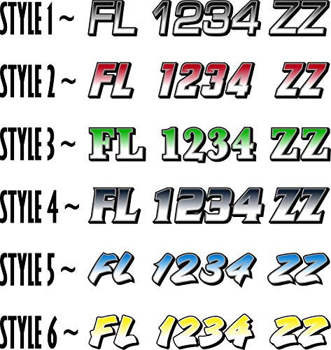 Boat Registration Numbers X2 GR / 2 Pack/Custom State Registration Stickers/Vinyl Boat Decal Graphics Pair Registration Numbers
