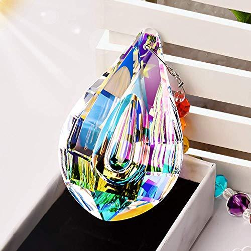 MerryNine Prism, Ab Color K9 Crystal Colorful Lamp Prisms Loquat Shape Chandelier Glass Crystals Hanging Drops Pendants, Sun Catcher Prism Pendent Pearl Yarn Gift Sandbag