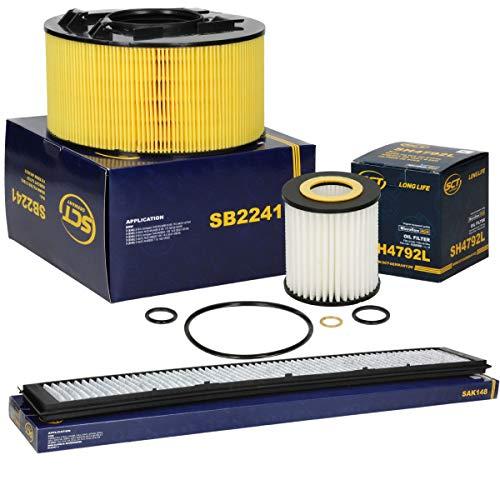 SCT Germany Inspektionspaket Wartungspaket Filterset 1 x Luftfilter 1 x Innenraumfilter mit Aktivkohle 1 x Ölfilter