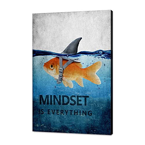 """Mindset is Everything Motivational Canvas Office Wall Art Inspirational Entrepreneur Quotes Poster Print Artwork Painting Wall Picture for Living Room Bedroom Office Framed Ready to Hang-12""""Wx18""""H"""