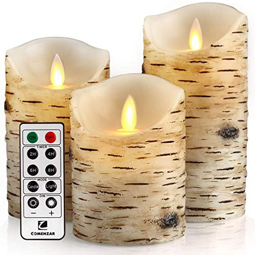 AOUVIK Flameless Candles Birch Set, Rustic bathroom decor with Remote 24 Hours Timer, 4' 5' 6' Pack of 3