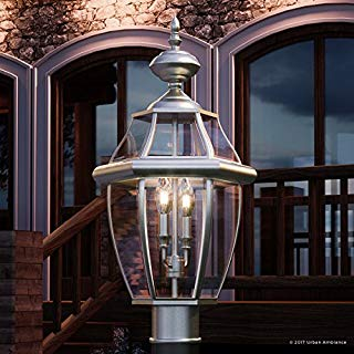 """Luxury Colonial Outdoor Post Light, Large Size: 21""""H x 11""""W, with Tudor Style Elements, Versatile Design, Classy Aged Silver Finish and Beveled Glass, UQL1149 by Urban Ambiance"""