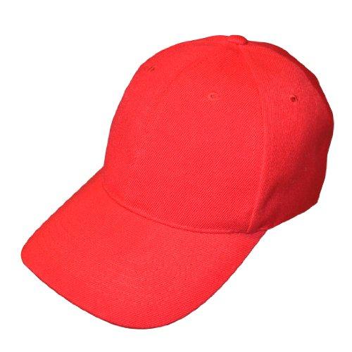 Lot de 10 casquettes de baseball réglables Rouge uni