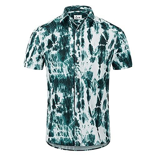 Camisa hawaiana de manga corta para hombre, informal, con flores, para verano, corte ajustado, básico, blusa B verde XXL