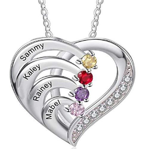 PAPAO Collar Simple de Cuatro Letras en Forma de corazón de Cuatro Diamantes (4 Nombres grabando el Regalo de la Madre de la Madre para el día de San Valentín del día de la Madre),Silver