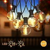 Guirnaldas Luminosas de Exterior, Qomolo G40 LED Cadena de Luces Con 16 LED Bombillas Y 2 Bombillas de Repuesto, 6.8M/22FT Cable,Decoración Luz para Interior, Patio, Jardín al Aire Libre,Fiesta, Bodas