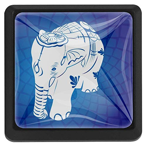 TIKISMILE Aziatische olifant kristal glas vierkante lade knoppen en trekknoppen handgrepen voor keuken meubilair deur ladekast dressoir kast kast kast kast badkamer
