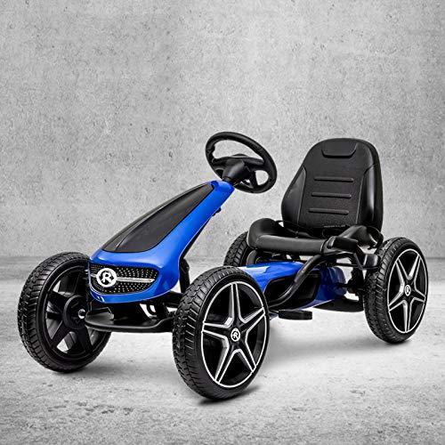 Pilota All'aperto Pedal Go Kart Con Handbrake,4 Non-slip Wheels Pedal Powered Ride On Toys Car Per Ragazzi Ragazze,Go Kart-Blu