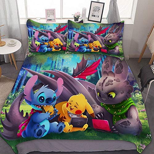 Bedding Duvet Cover Set,FULL (80x90 inch), Pikachu Stitch Toothless Night Fury,3 Pieces Bedding Set,With Zipper Closure and 2 Pillow Shams, Cute Cartoon bedroom Comforter Sets for Boys Girls