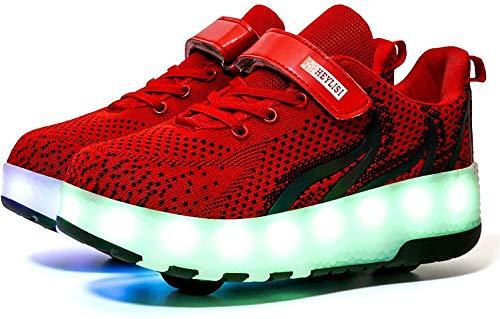 LIjiMY Unisex Kids Roller Skate Skate Shoe Removible Conviértete En Sport USB Carga LED Zapatos para Niños Niñas Zapatos De Rueda De Doble Rueda, Rojo, UE40 (Color : Red, Size : EU33)