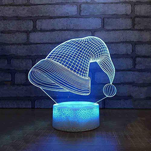 RJGOPL amazing 3D LED tafellamp kleurrijke kerstmuts nachtlampje hotel slaapkamer decoratie kerstcadeau