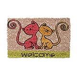 Relaxdays Kids Mini Felpudo Fibra de Coco con Gato Tema de Bienvenida Felpudo Antideslizante ladrón Parte Inferior 1,5x 40x 25cm, diseño de Gatos