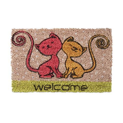 Relaxdays Mini Paillasson enfants avec motifs chats tapis entrée pour les petits fibres de coco...