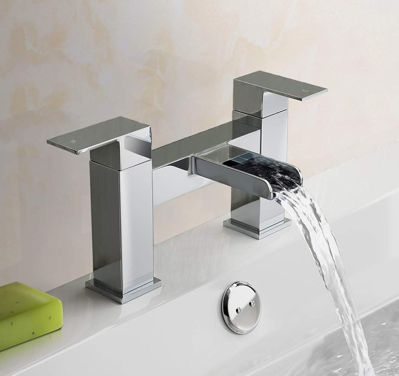 FROHES Verbesserte Version [Badewannenarmatur] Modernes Luxusbadezimmer Wasserfall Monoblock Wannenfüllarmatur Mischbatterie Chrom Doppelhebel Wannenarmatur Messing